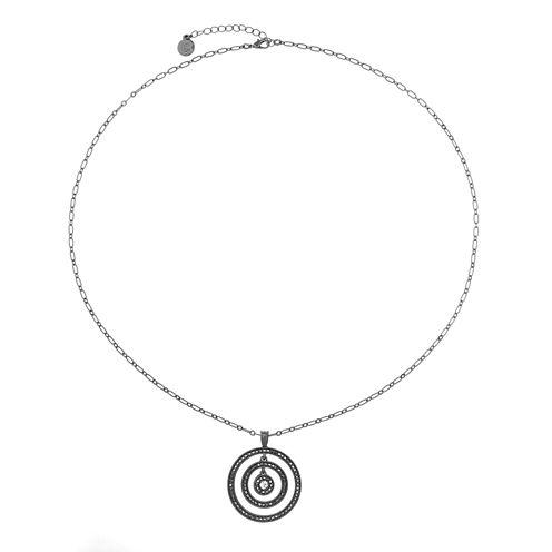 Liz Claiborne Gray Round Long Pendant Necklace