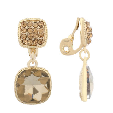 jcpenney.com | Monet Jewelry Brown  Goldtone Double Drop Clip Earring