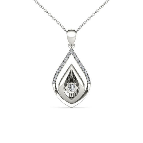 Love in Motion 1/7 CT. T.W. White Diamond Round 10K Gold Pendant