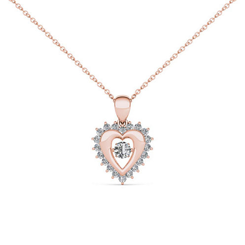 Love in Motion 1/4 CT. T.W. White Diamond Round 10K Gold Pendant