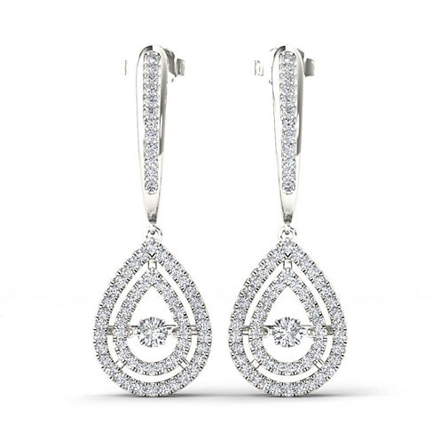 1/2 CT. T.W. White Diamond 10K Gold Drop Earrings