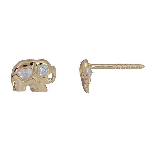 Heart White Cubic Zirconia 14K Gold Stud Earrings
