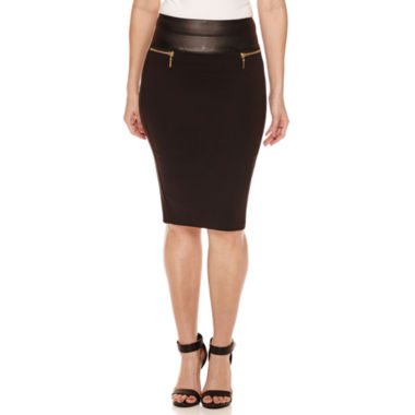 jcpenney.com | Bisou Bisou Stack Pleather Waist Pencil Skirt
