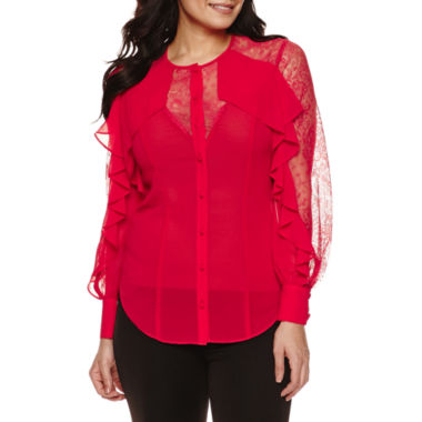 jcpenney.com | Bisou Bisou Ruffle Illusion Top