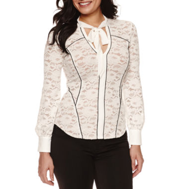 jcpenney.com | Bisou Bisou Tie Neck Lace Top