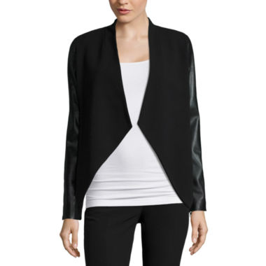 jcpenney.com | Worthington Faux Leather Open Front Blazer