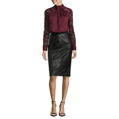 jcpenney.com | Worthington Lace Sleeve Blouse and Pleather Studded Pencil Skirt