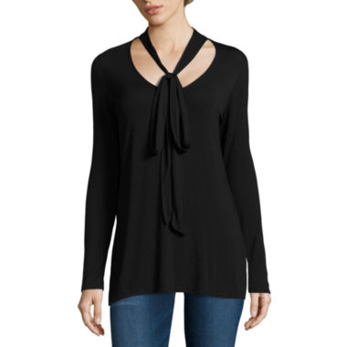 jcpenney.com | i jeans by Buffalo Long Sleeve V Neck Tunic Bow Top