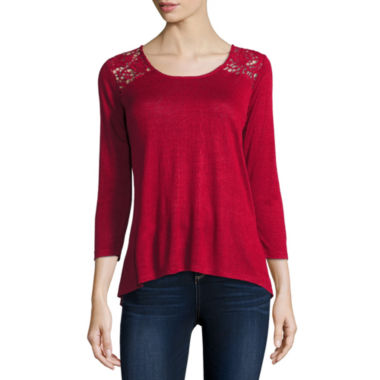 jcpenney.com | i jeans by Buffalo 3/4 Sleeve Lace Back Top