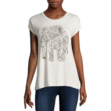 jcpenney.com | i jeans by Buffalo Short Sleeve Scoop Neck Elephant Screen Tee