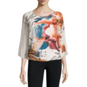 Alyx Long Sleeve Scoop Neck Chiffon Blouse