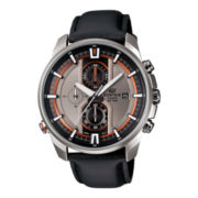 Casio® Edifice Active Racing Mens Black Leather Strap Chronograph Watch