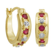 18K Gold Over Brass Lab-Created Ruby & Diamond Accent Hoop Earrings
