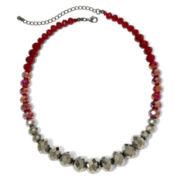 Hematite & Red Graduated Glass Stone Necklace