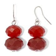 Red Graduated Bead Double Drop Earrings