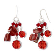 Red Shell & Glass Cluster Earrings