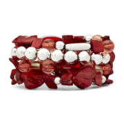 Silver-Tone & Red Glass & Shell 4-pc. Stretch Bracelet Set
