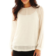Liz Claiborne Long-Sleeve Burnout-Striped Blouse with Cami