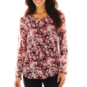 Liz Claiborne Collarless Button-Front Shirt with Cami - Talls