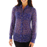 Liz Claiborne Button-Front Shirt with Shirring
