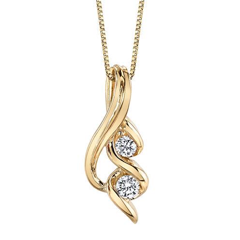 1/4 CT. T.W. White Diamond Round 14K Gold Pendant