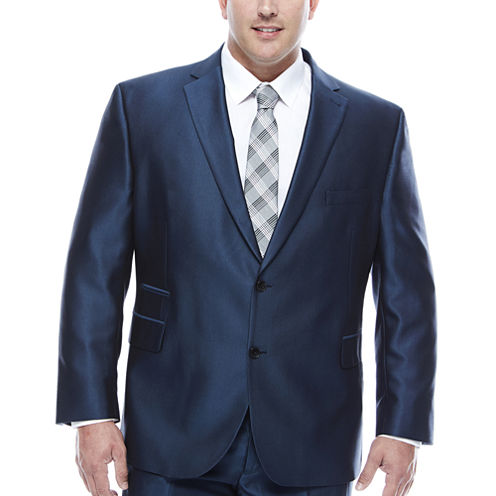 J.Ferrar Blue Luster Herringbone Big and Tall Fit Suit Jacket