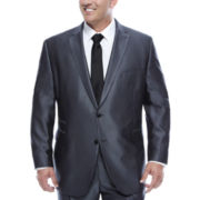 JF J.Ferrar Gray Luster Herringbone Big and Tall Fit Suit Jacket
