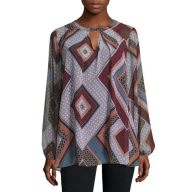 jcpenney.com | Alyx Long Sleeve Scoop Neck Chiffon Blouse