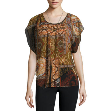jcpenney.com | Alyx Short Sleeve Scoop Neck Chiffon Blouse