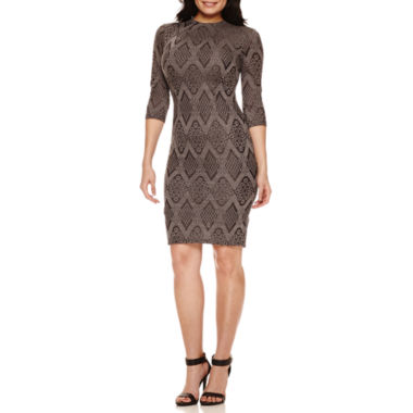 jcpenney.com | Bisou Bisou 3/4 Sleeve Bodycon Dress