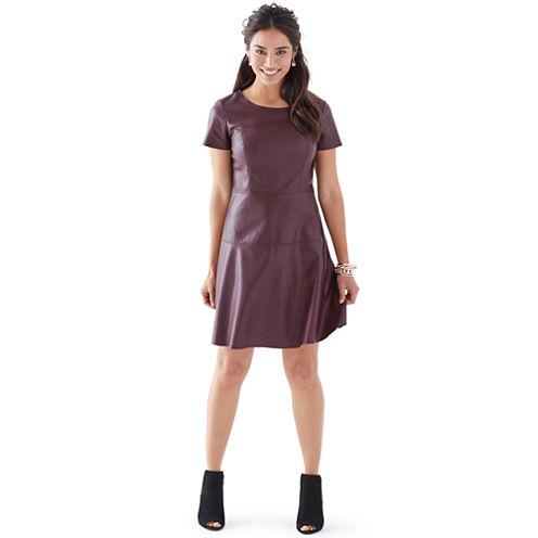 Worthington® Short-Sleeve Faux-Leather Dress