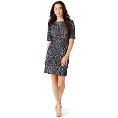 jcpenney.com | R&K Originals® Elbow-Sleeve Bonded-Lace Sheath Dress