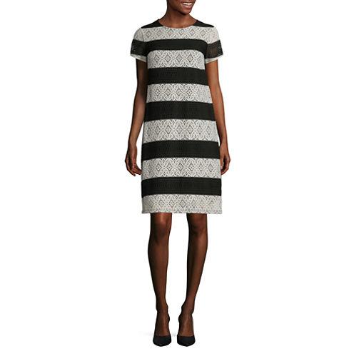 London Times Short Sleeve Shift Dress