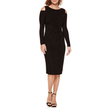 jcpenney.com | Liz Claiborne Long Sleeve Cold Shoulder Sheath Dress