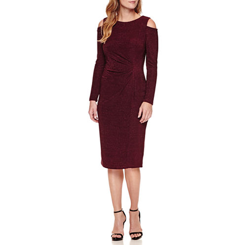 Liz Claiborne Long Sleeve Cold Shoulder Sheath Dress