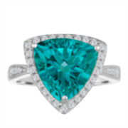 Womens Blue Topaz Cocktail Ring