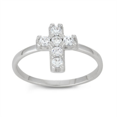 jcpenney.com | Sterling SIlver Girls Cubic Zirconia Cross Delicate Ring
