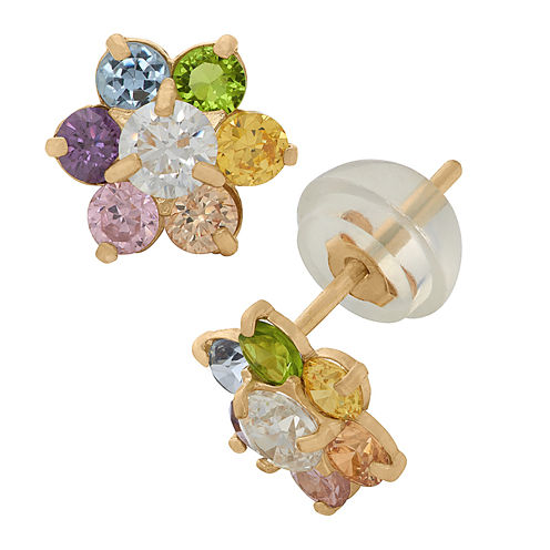 Round Multi Color Cubic Zirconia 14K Gold Stud Earrings