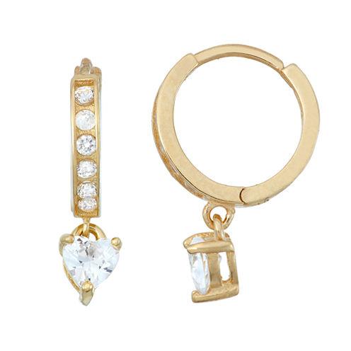White Cubic Zirconia 14K Gold Over Silver Hoop Earrings