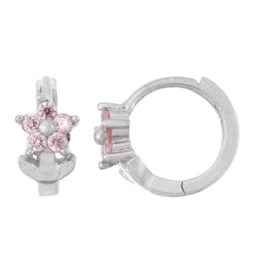 jcpenney.com | Pink Cubic Zirconia Sterling Silver Hoop Earrings