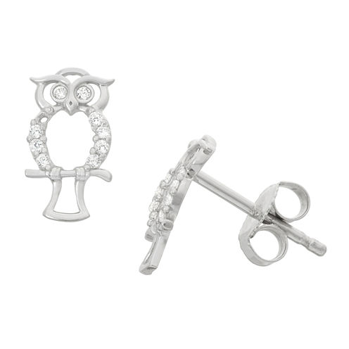 Round White Cubic Zirconia Sterling Silver Stud Earrings