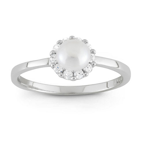 Girls Genuine White Pearl Delicate Ring
