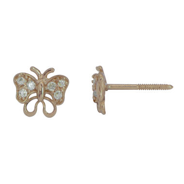 jcpenney.com | Cubic Zirconia 14K Yellow Gold Butterfly Stud Earrings