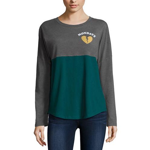 Long Sleeve Scoop Neck T-Shirt-Womens Juniors