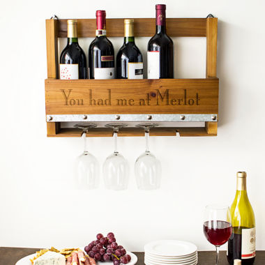 jcpenney.com | Cathy's Concepts Personalized Rustic Wall Mounted Wine Rack