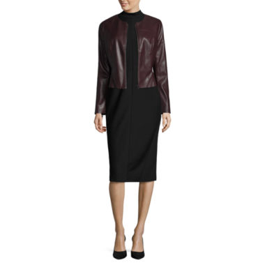 jcpenney.com | Worthington Pleather Peplum Blazer and Sleeveless Mock Neck Sheath Dress