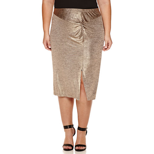 Worthington® Knot Front Knit Pencil Skirt - Plus