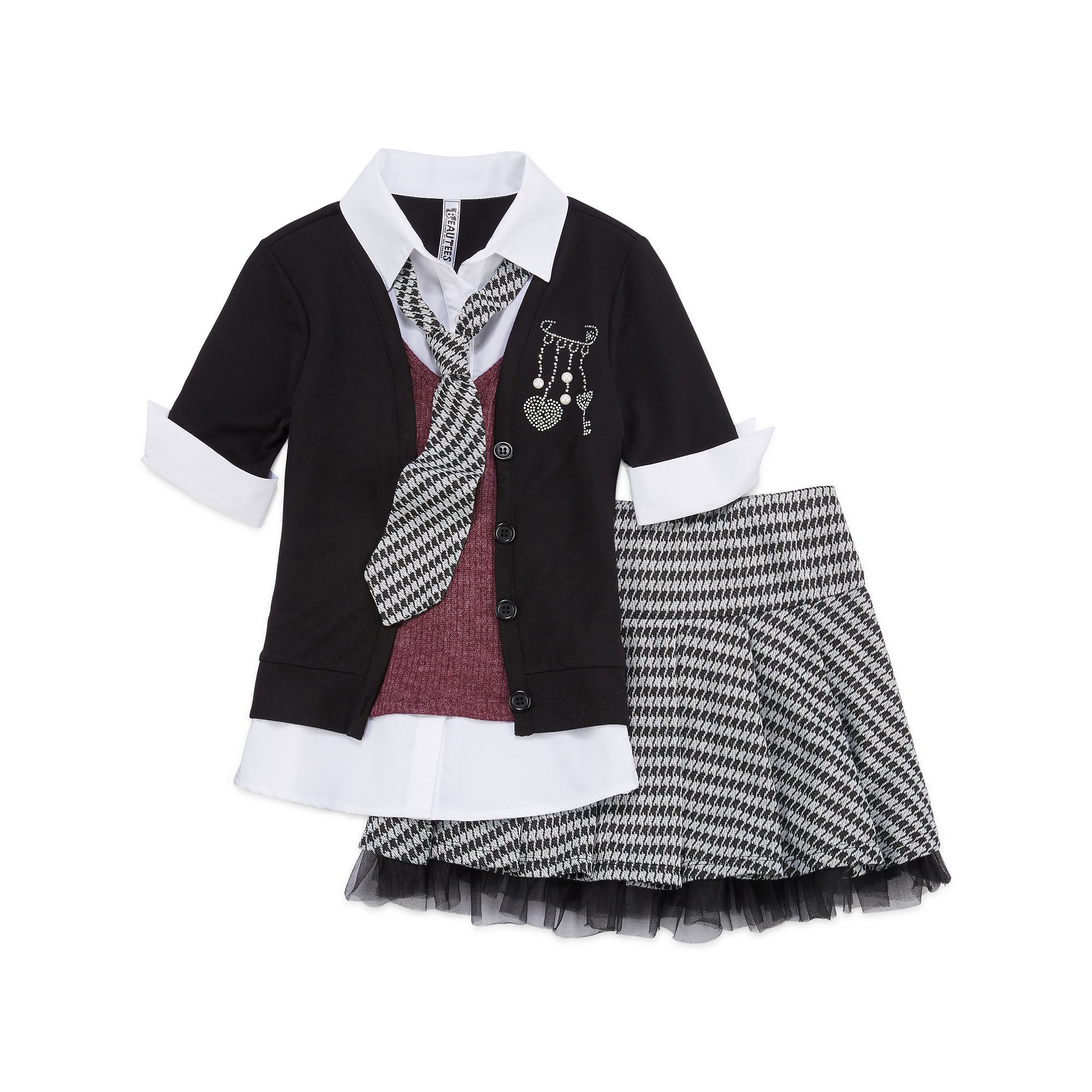 Beautees 2-pc. Cardigan and Skirt Set - Girls 7-16 plus size,  plus size fashion plus size appare