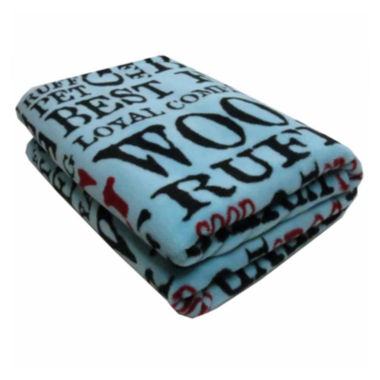 "jcpenney.com | P. B. Paws by Park B. Smith® 50"" x 60"" Good Dog Printed Fleece Throw"