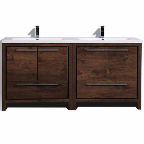 "Moreno Bath MOD 72"" Free Standing Modern BathroomVanity with 4 Doors 2 Drawers and Reeinforced Double Acrylic Sink"""